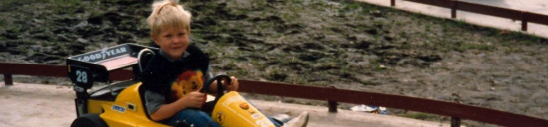 A young Hayden driving a go-kart