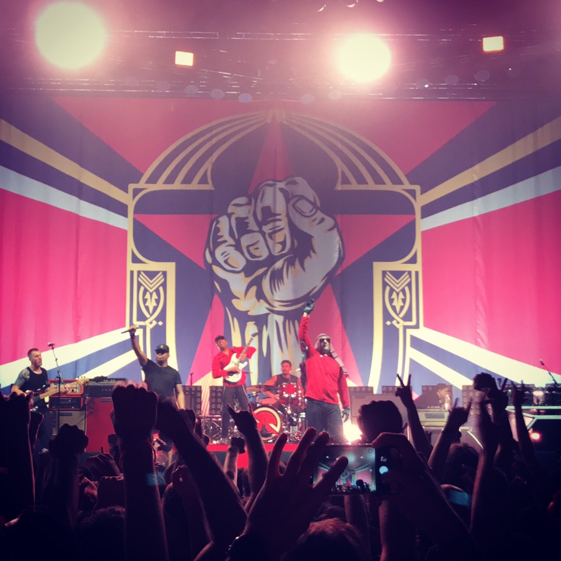 Prophets of Rage on stage at Spark Arena, Auckland, New Zealand